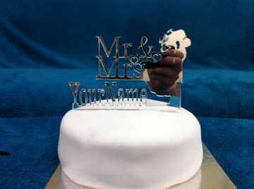 Personalised Mr & Mrs Bride and Groom Cake Topper 15cm x 10.5cm - choose from Mirror, Clear or Black (CT01)